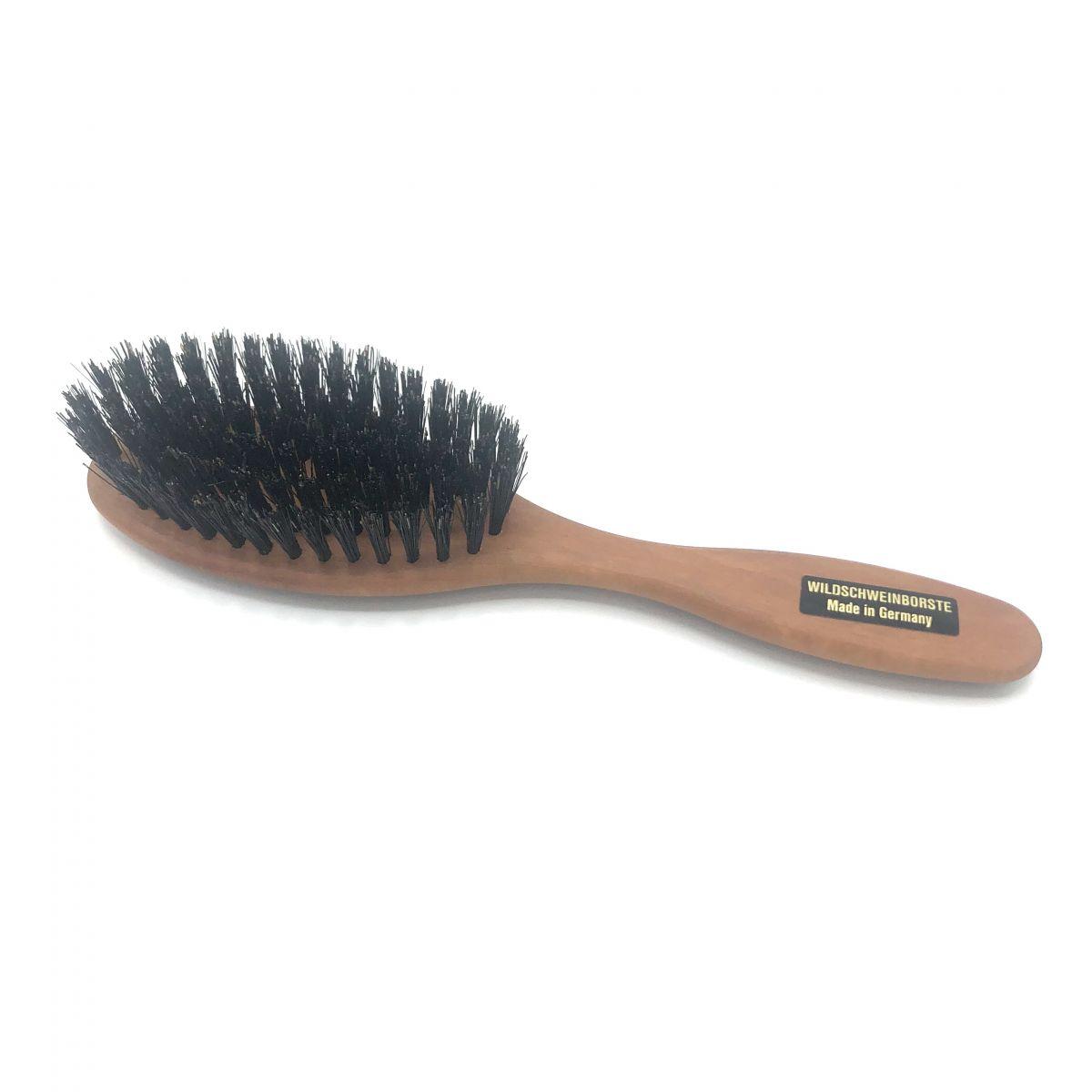 Haarbürste klein oval mit festen Wildschweinborsten