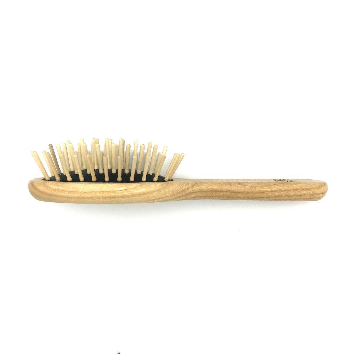 Haarbürste TEK, klein oval mit Holzstiften