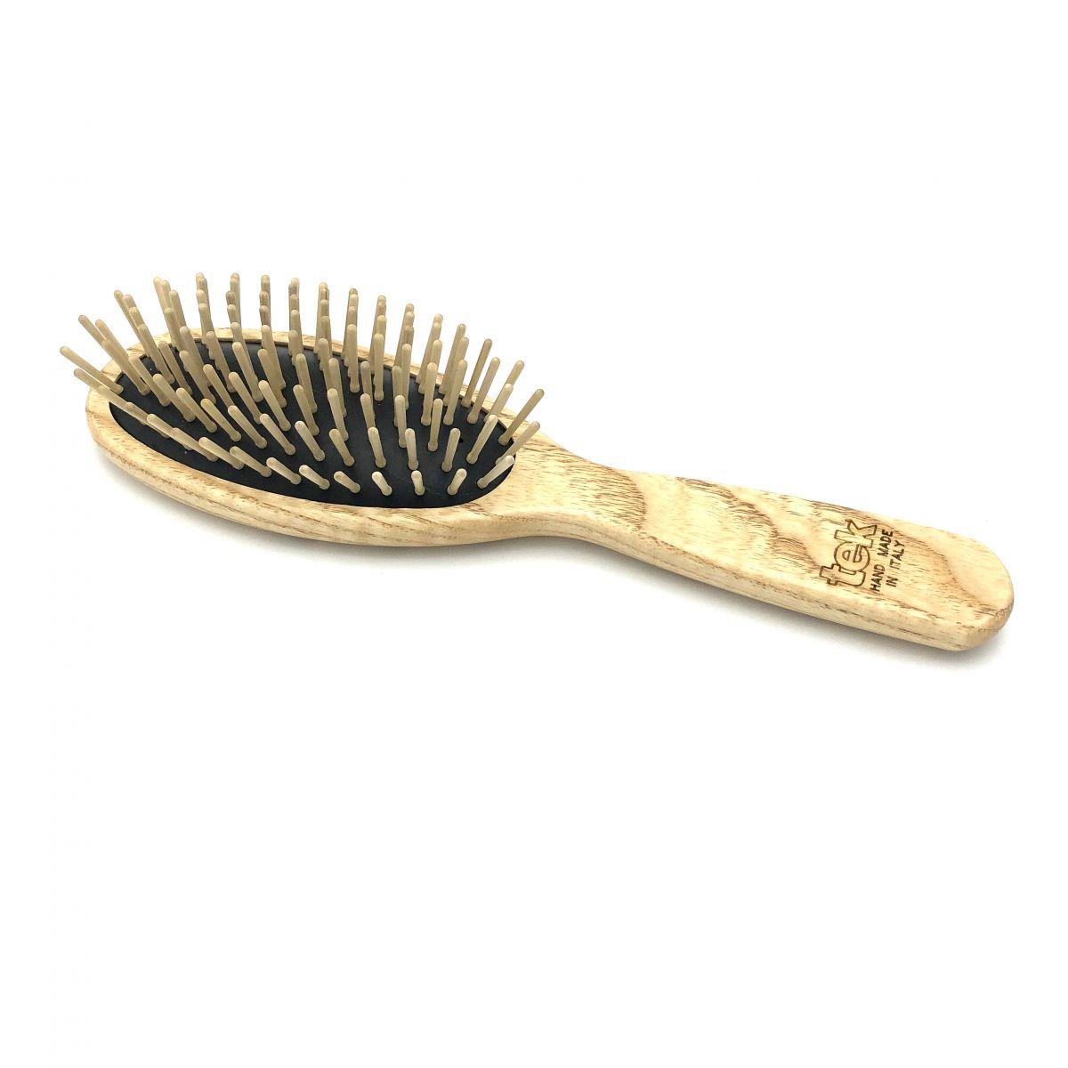 Haarbürste TEK, groß oval mit Holzstiften