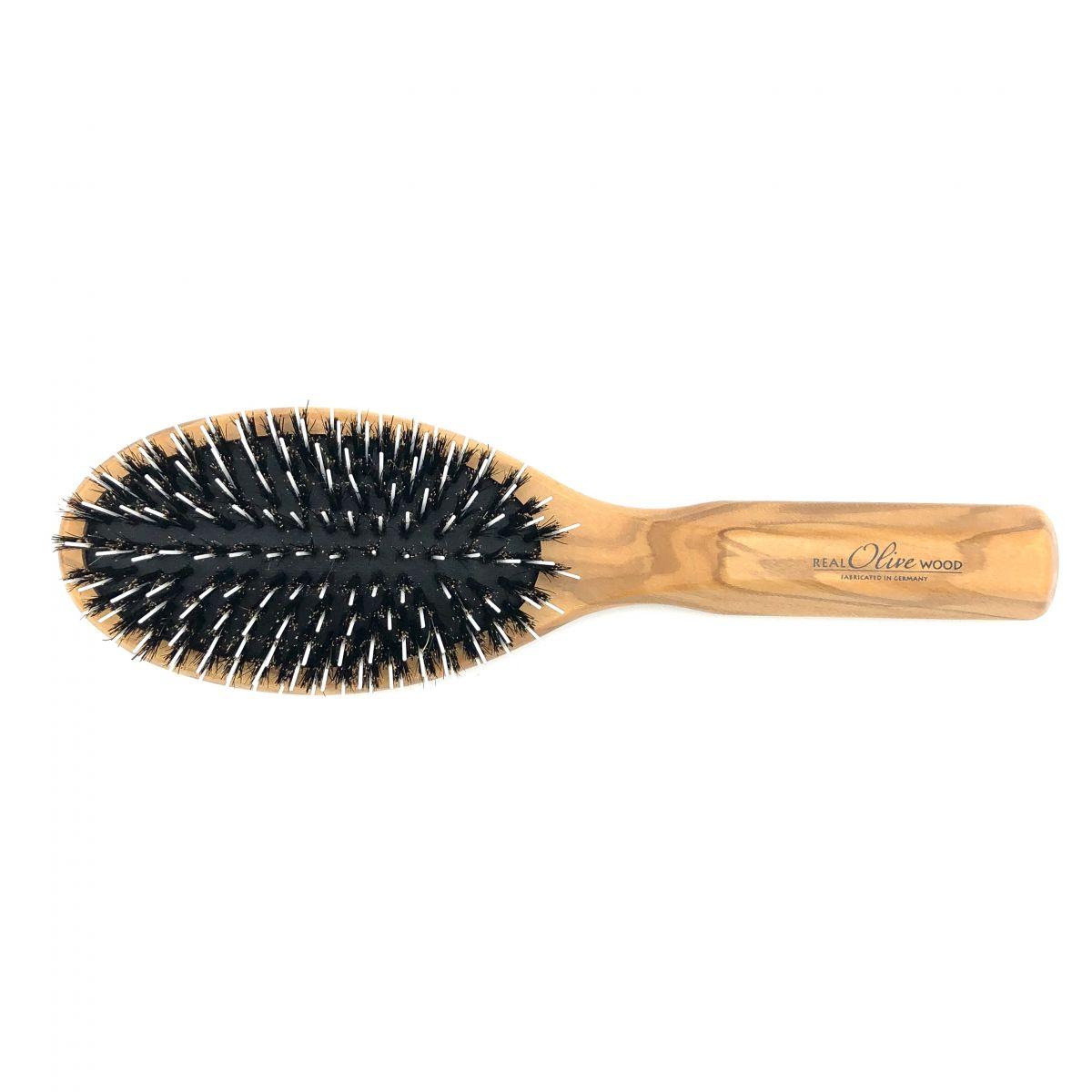 Haarbürste Olivia groß oval mit Borsten und Frisierpins