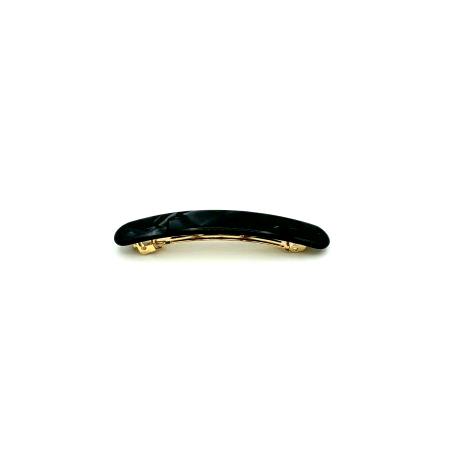 Haarspange schwarz/silbergrau - klein, flach - 7,7 cm