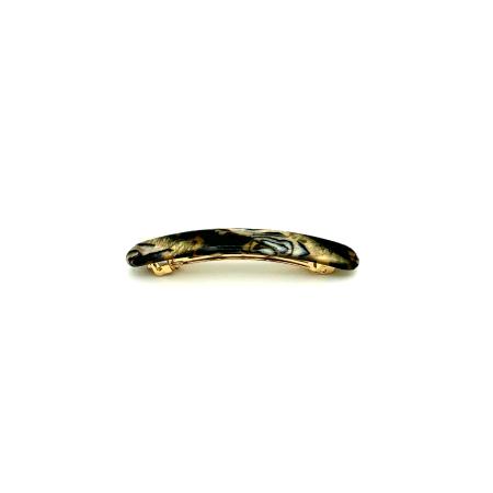 Haarspange gold/schwarz - klein, flach - 7,7 cm