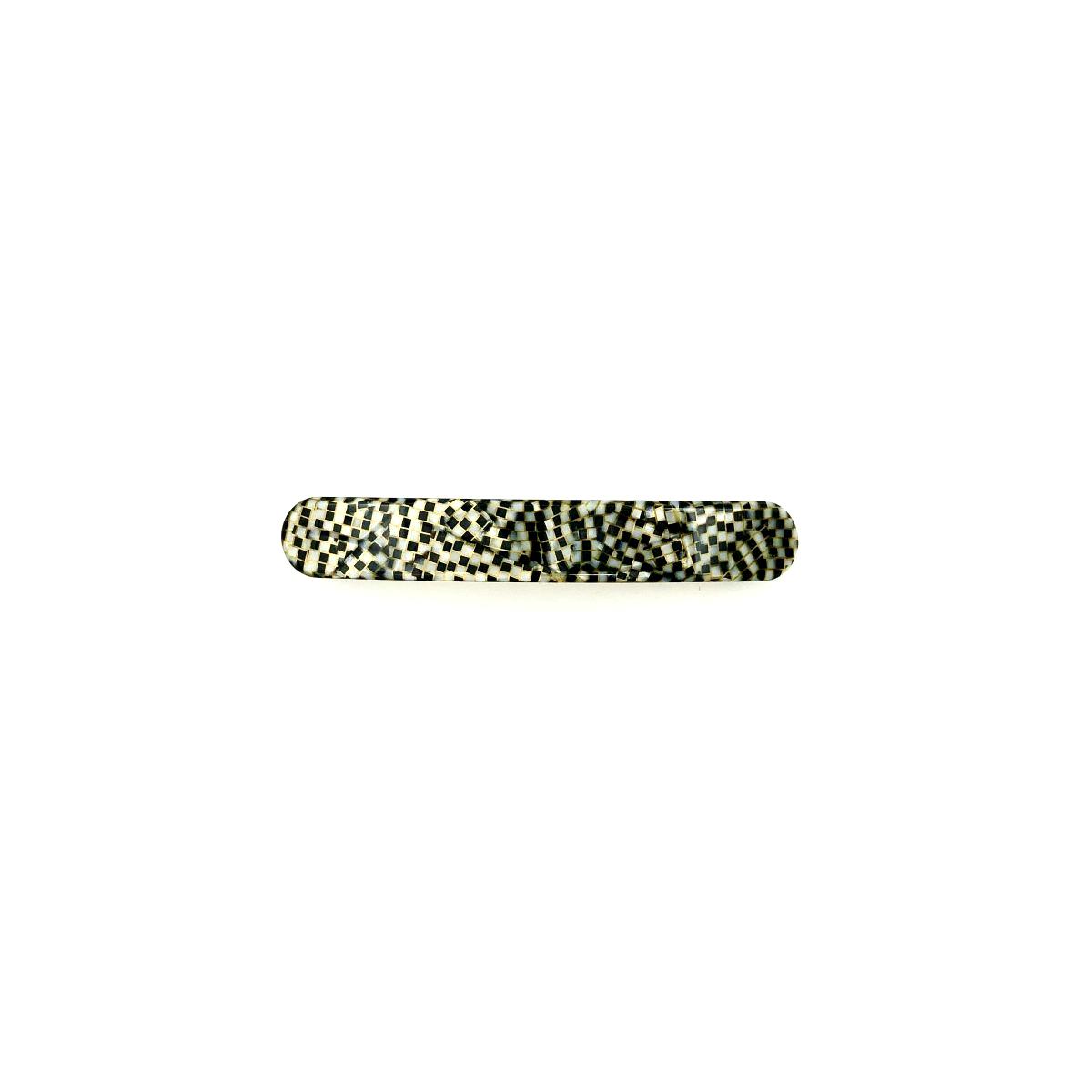 Haarspange silbergrau/schwarz - klein, flach - 7,7 cm