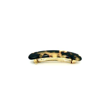Haarspange schwarz/honig - klein, paralleloval - 7,7 cm