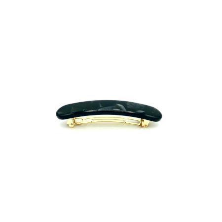 Haarspange schwarz/silbergrau - klein, paralelloval - 7,7 cm