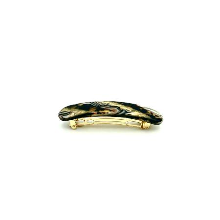 Haarspange gold/schwarz - klein, paralleloval - 7,7 cm