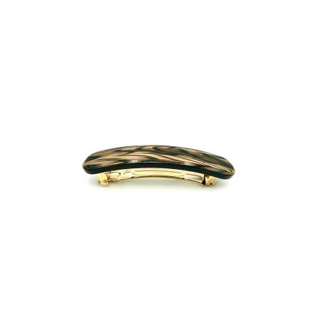 Haarspange dunkelbraun - klein, paralleloval - 7,7 cm