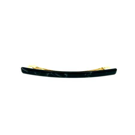 Haarspange schwarz/silbergrau - lang, flach - 10,3 cm