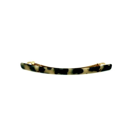 Haarspange schwarz/beige - lang, flach - 10,3 cm
