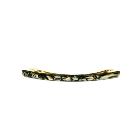 Haarspange perlmutt/braun - lang, flach - 10,3 cm