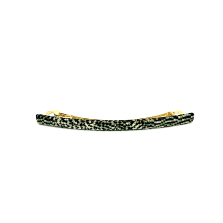Haarspange silbergrau/schwarz - lang, flach - 10,3 cm