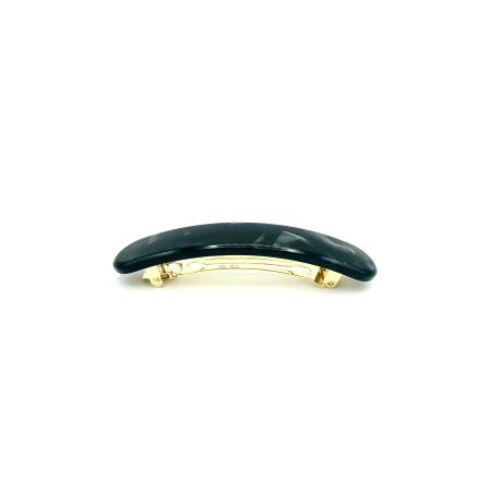 Haarspange schwarz/silbergrau - mittel, paralleloval - 10 cm