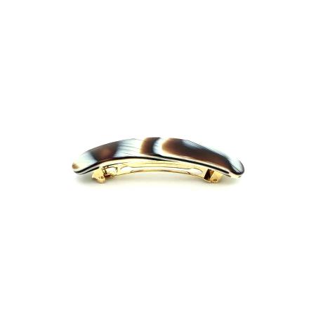 Haarspange creme/rotbraun - mittel, paralleloval - 10 cm
