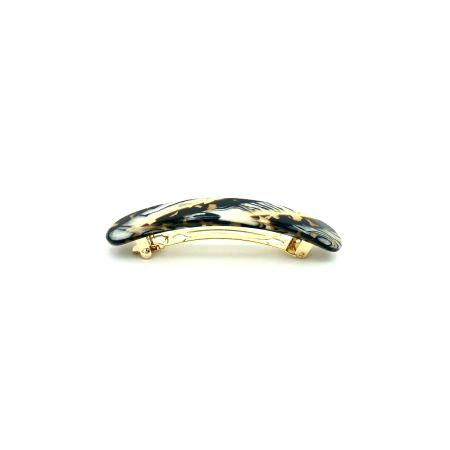Haarspange gold/schwarz - mittel, paralleloval - 10 cm