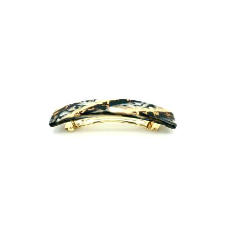 Haarspange gold/schwarz - mittel, rechteckig - 9 cm