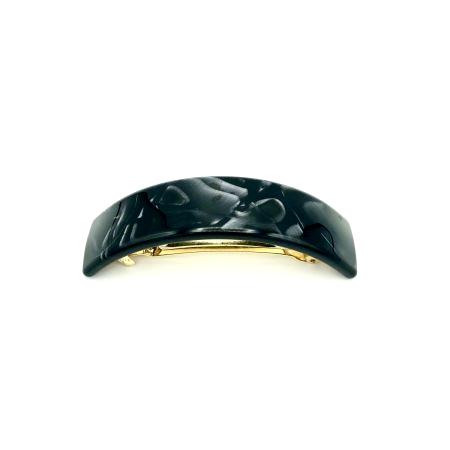 Haarspange schwarz/silbergrau - groß, gebogen, schmal - 9,5 cm