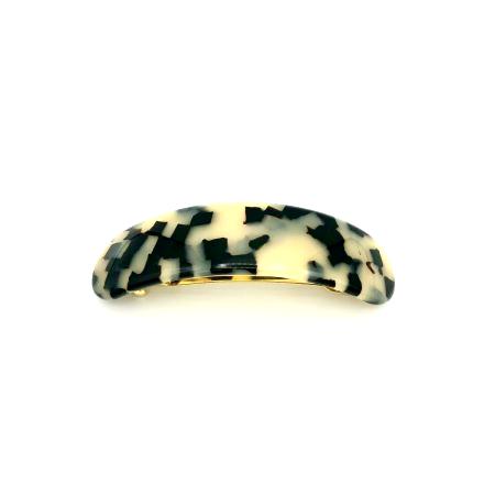 Haarspange schwarz/beige - groß, gebogen, paralleloval - 9,5 cm