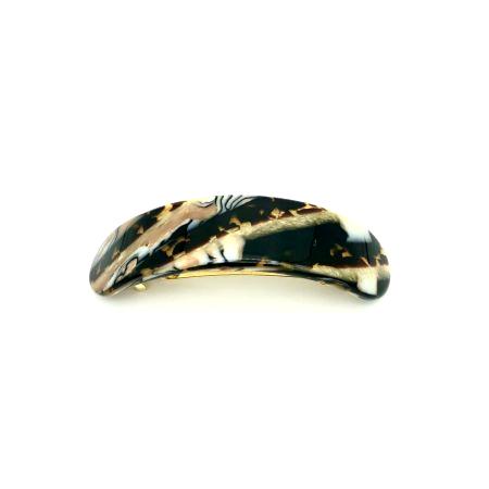 Haarspange gold/schwarz - groß, gebogen,paralleloval -  9,5 cm