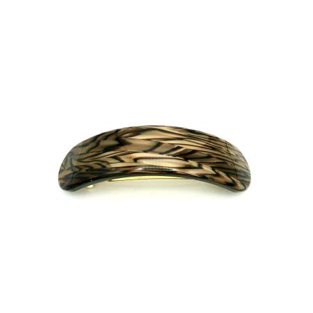 Haarspange dunkelbraun - groß, gebogen, paralleloval - 9,5 cm
