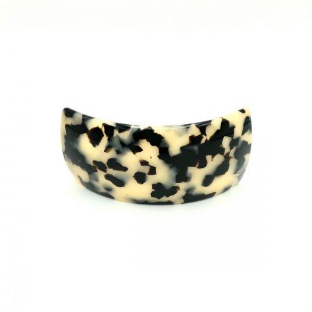 Haarspange schwarz/beige - groß, gebogen, breit - 9,5 cm