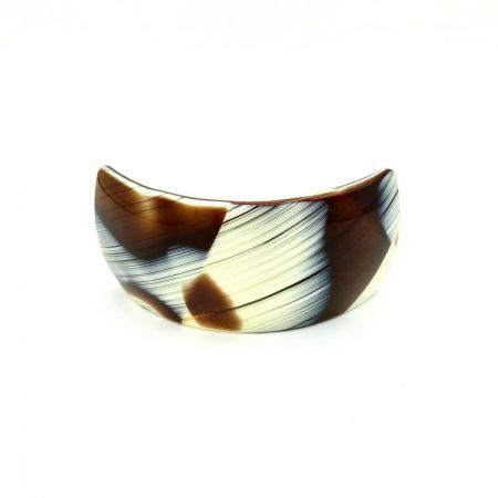 Haarspange creme/rotbraun - groß, gebogen, breit - 9,5 cm