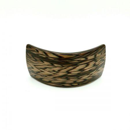 Haarspange dunkelbraun - groß, gebogen, breit - 9,5 cm