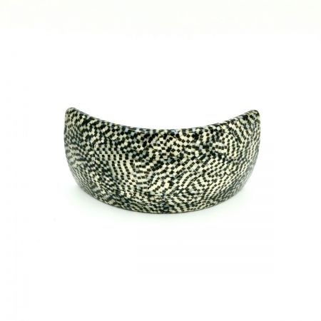 Haarspange silbergrau/schwarz - groß, gebogen, breit - 9,5 cm