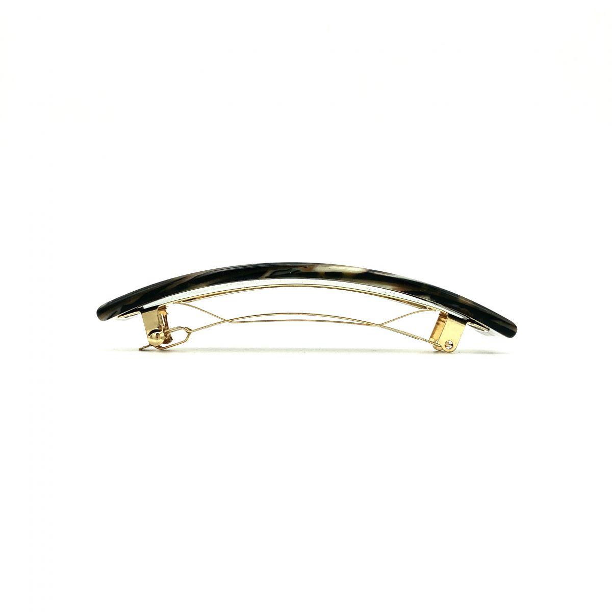 Haarspange gold/schwarz - groß, rechteckig - 10,5 cm