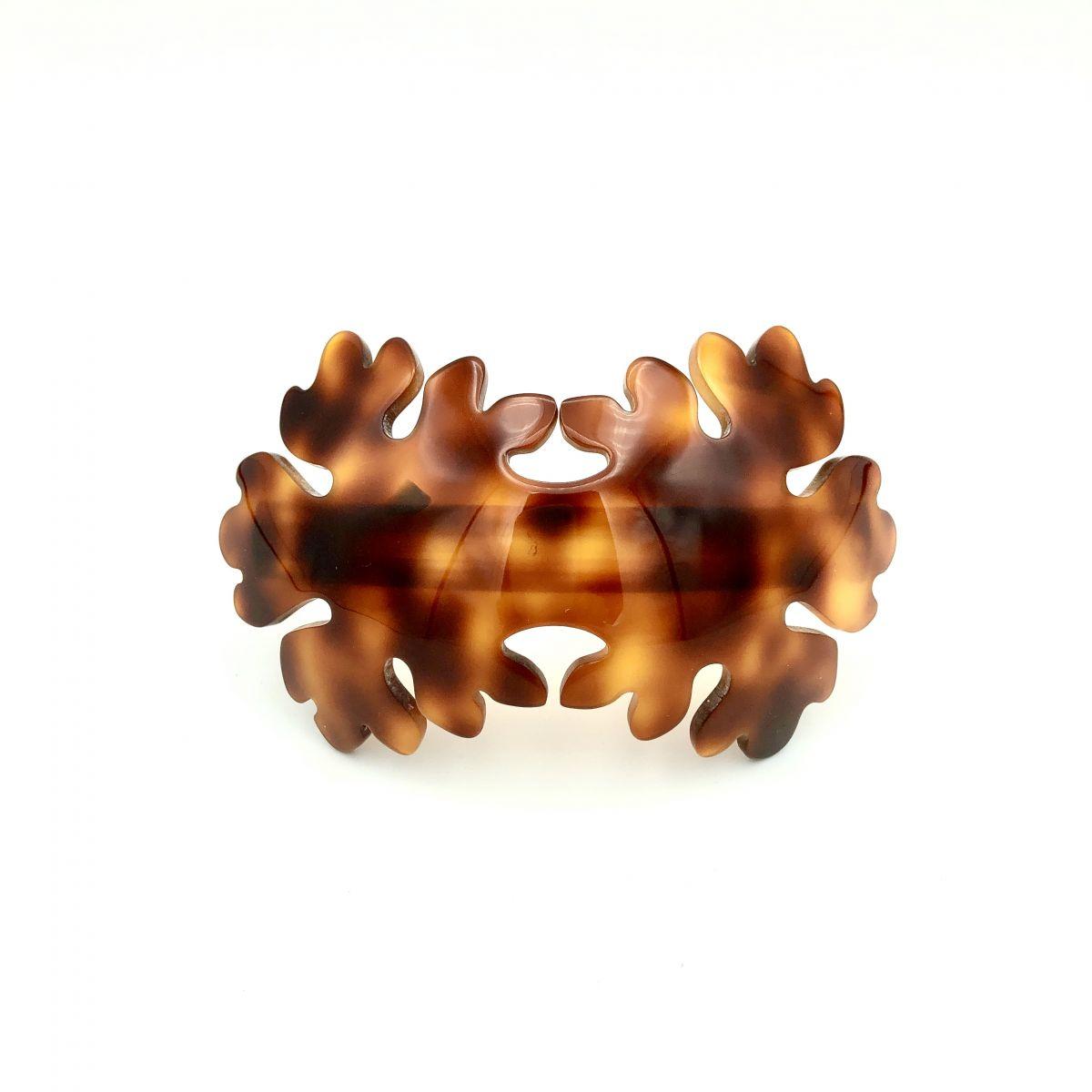 Haarspange rotbraun - groß, gebogen, Blume - 10,2 cm