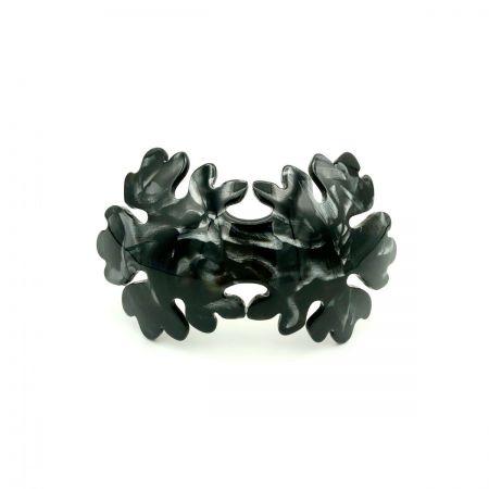 Haarspange schwarz/silbergrau - groß, gebogen, Blume - 10,2 cm