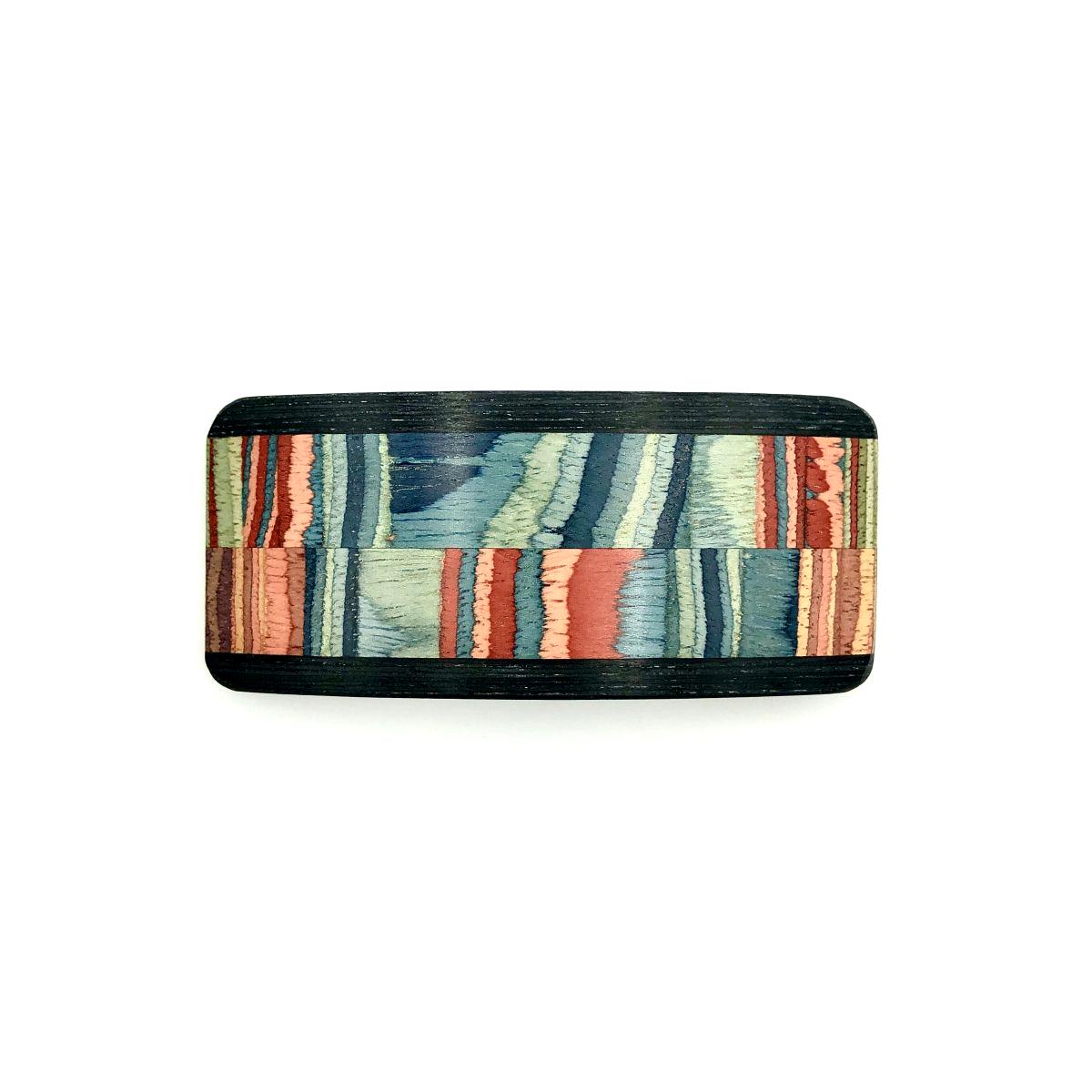 Haarspange aus Holz blau/bunt - mittel, breit - 9,5 cm