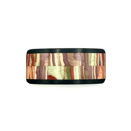 Haarspange aus Holz lila/bunt - mittel, breit - 9,5 cm