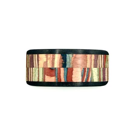 Haarspange aus Holz rot/bunt - mittel, breit - 9,5 cm