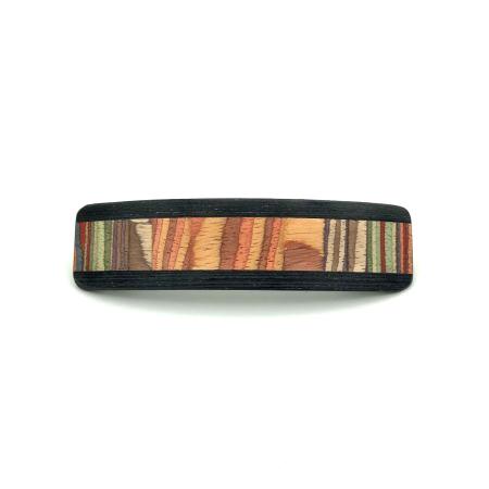 Haarspange aus Holz braun/bunt - groß, schmal - 10,5 cm