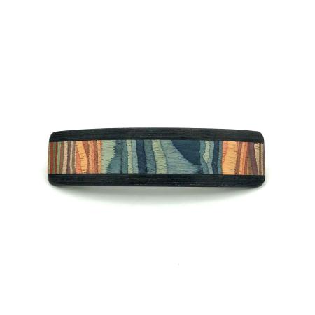 Haarspange aus Holz blau/bunt - groß, schmal - 10,5 cm