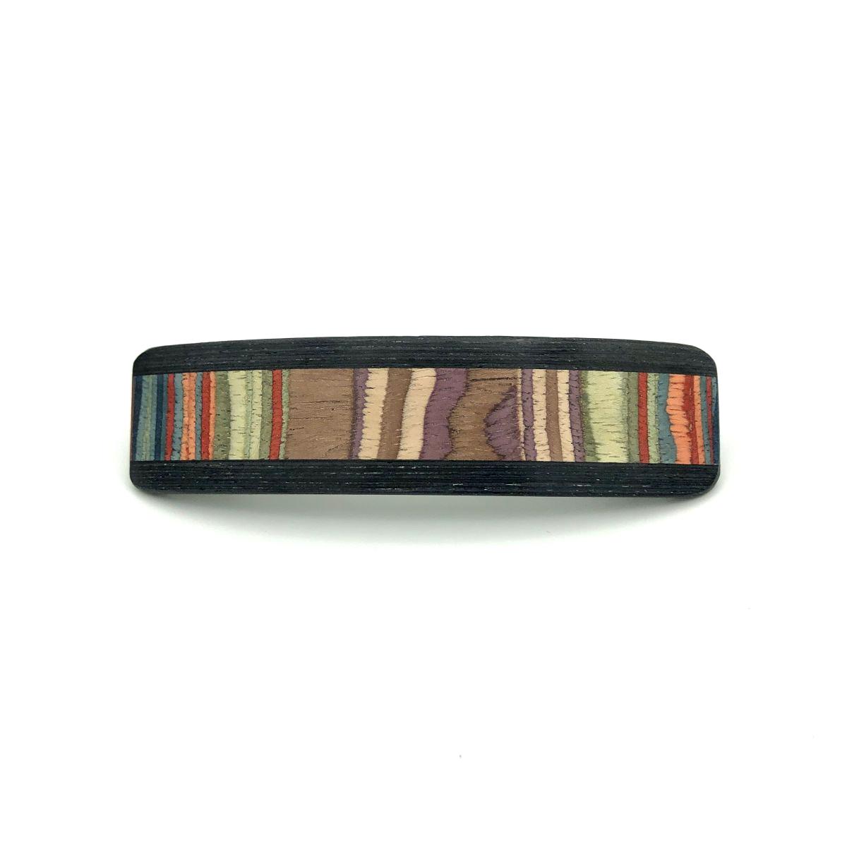 Haarspange aus Holz lila/bunt - groß, schmal - 10,5 cm