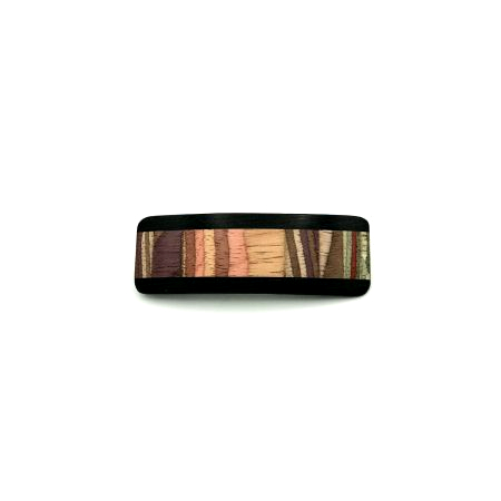 Haarspange Holz aus braun/bunt - klein - 7,5 cm