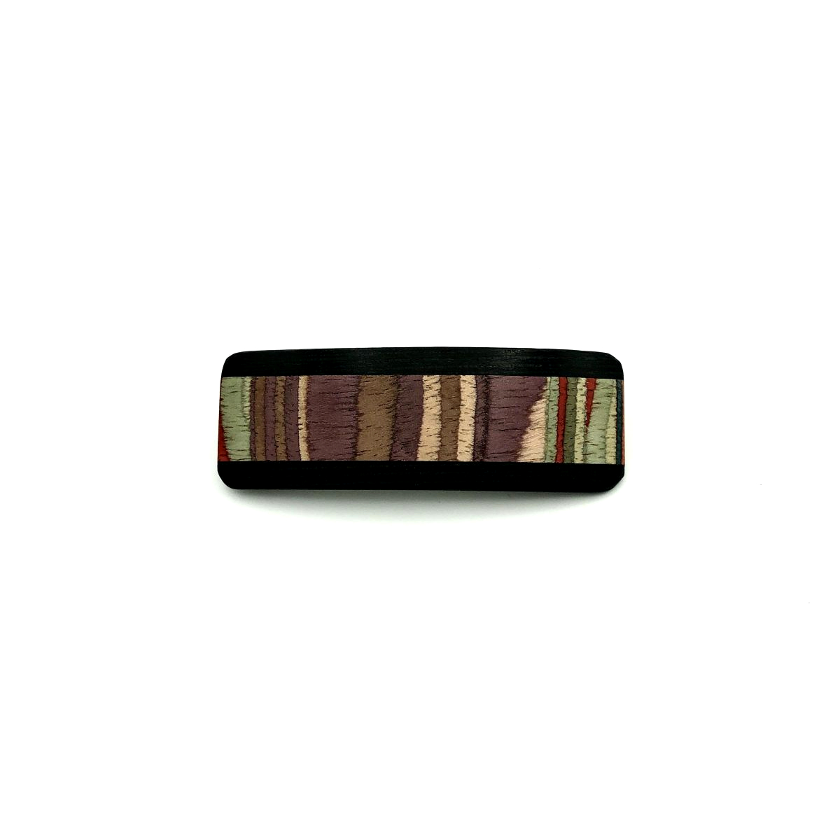 Haarspange aus Holz lila/bunt - klein - 7,5 cm