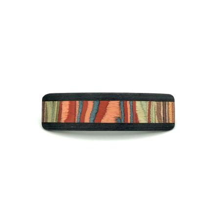 Haarspange aus Holz rot/bunt - mittel, schmal - 9,5 cm