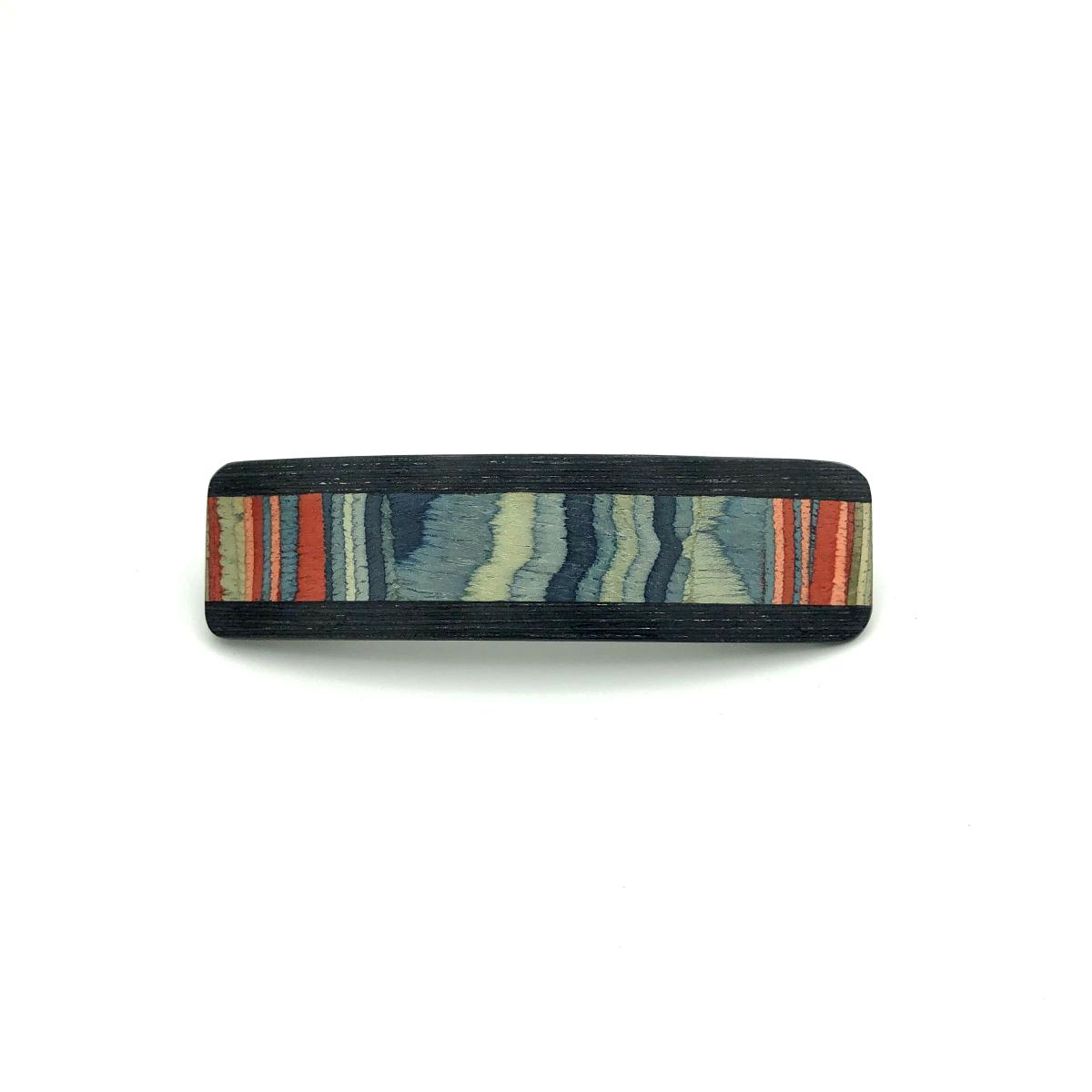 Haarspange aus Holz blau/bunt - mittel, schmal - 9,5 cm