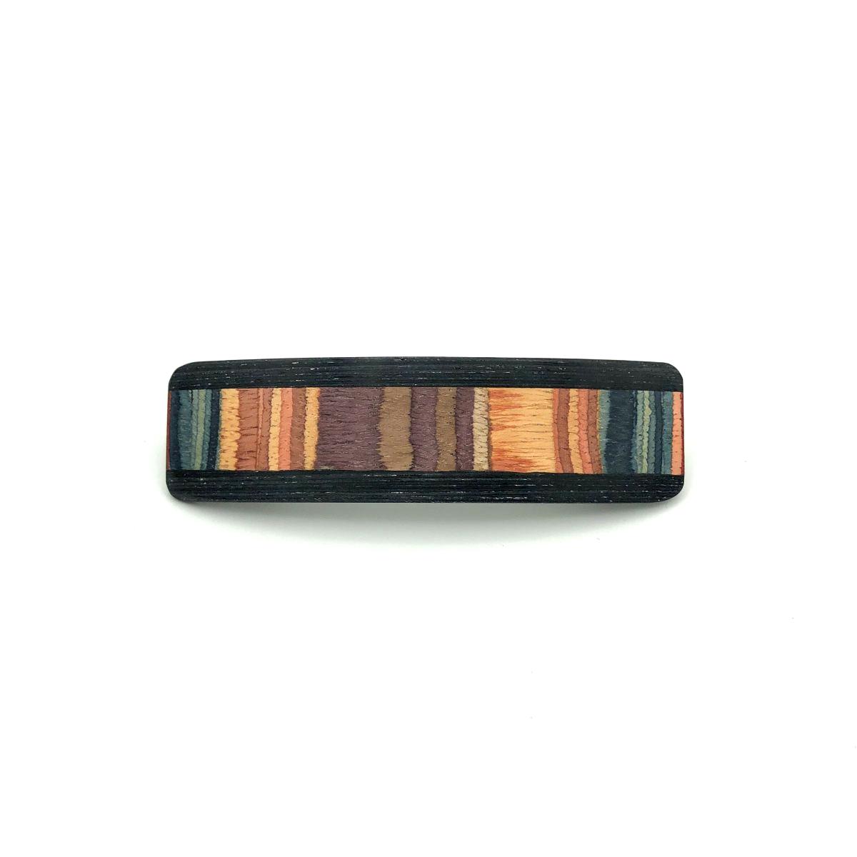 Haarspange aus Holz lila/bunt - mittel, schmal - 9,5 cm