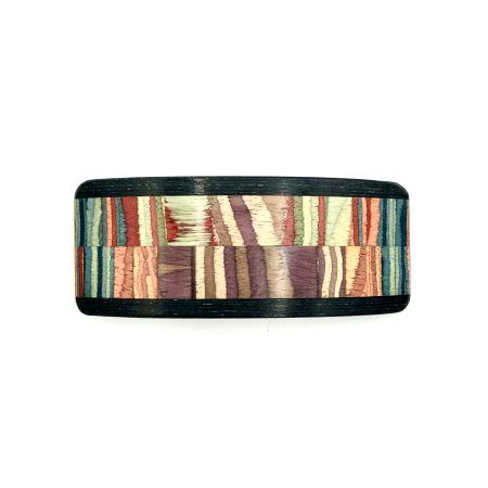 Haarspange aus Holz lila/bunt - groß, breit - 10,5 cm