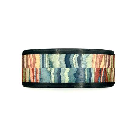 Haarspange aus Holz blau/bunt - groß, breit - 10,5 cm