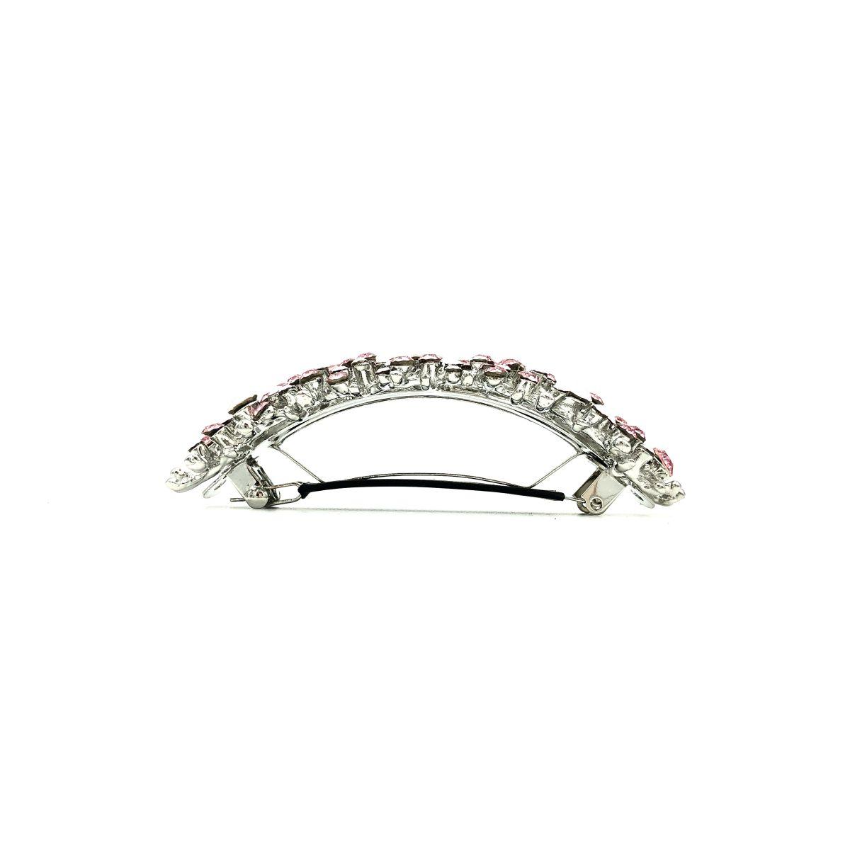 Haarspange 'Carine' Strass rosa/silber - groß, gebogen