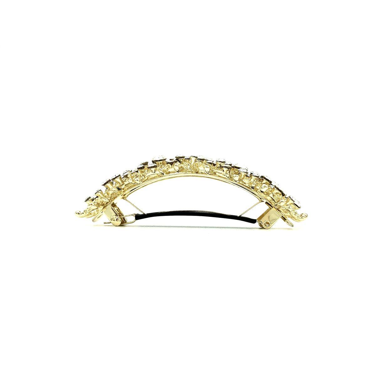 Haarspange 'Carine' Strass cristall/gold - groß,  gebogen