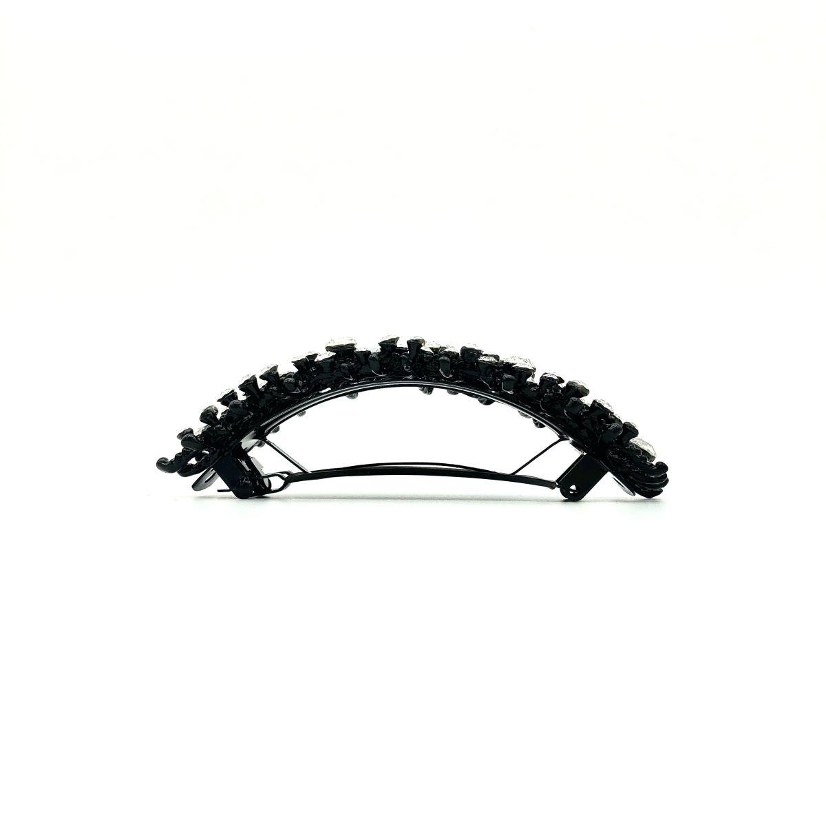 Haarspange 'Carine' Strass cristall/schwarz - groß, gebogen