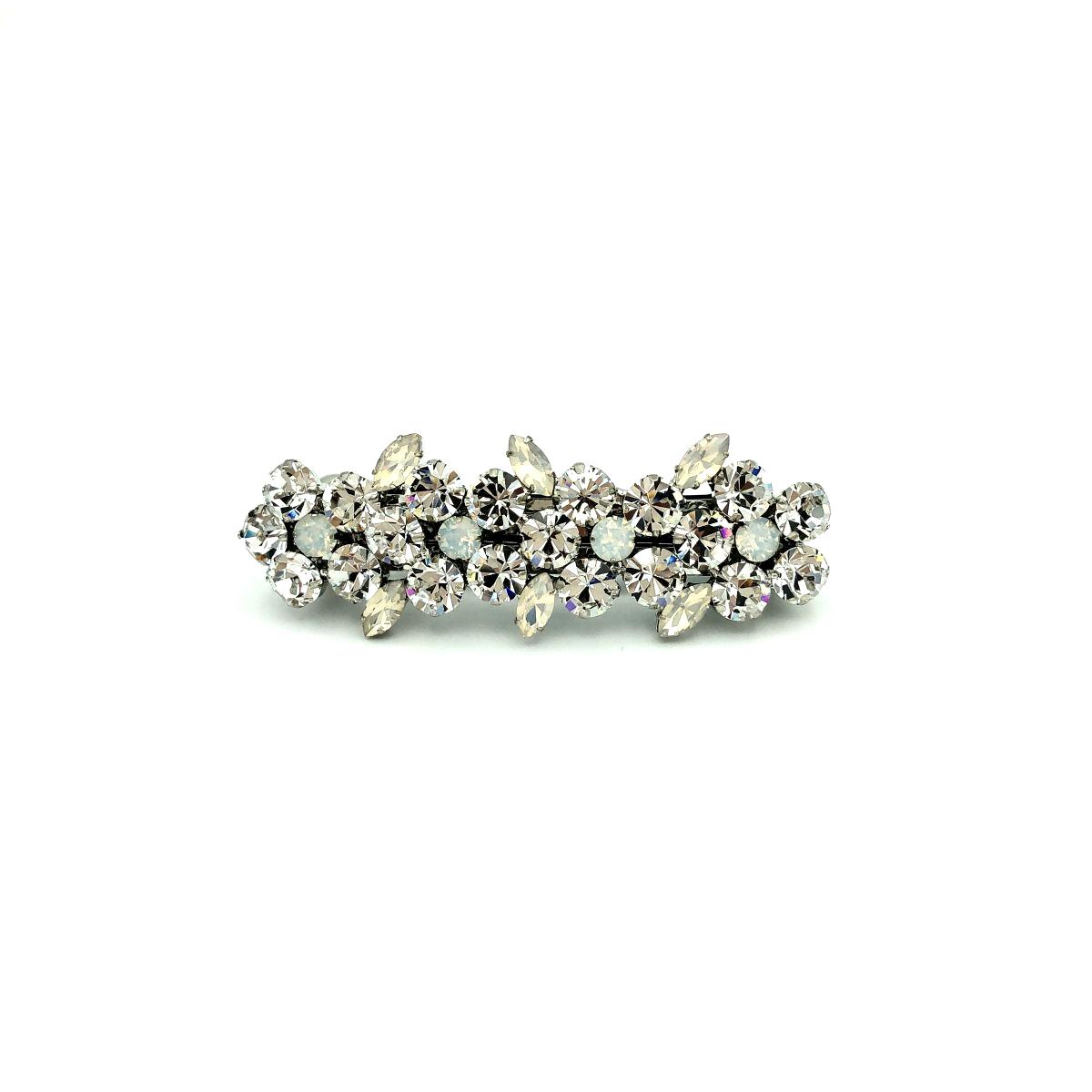 Haarspange 'Sarah' Strass cristall/silber - klein - 8,8 cm
