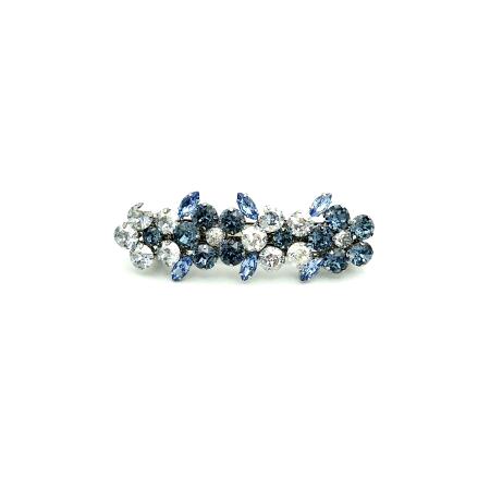 Haarspange 'Sarah' Strass blau/silber - klein - 8,8 cm