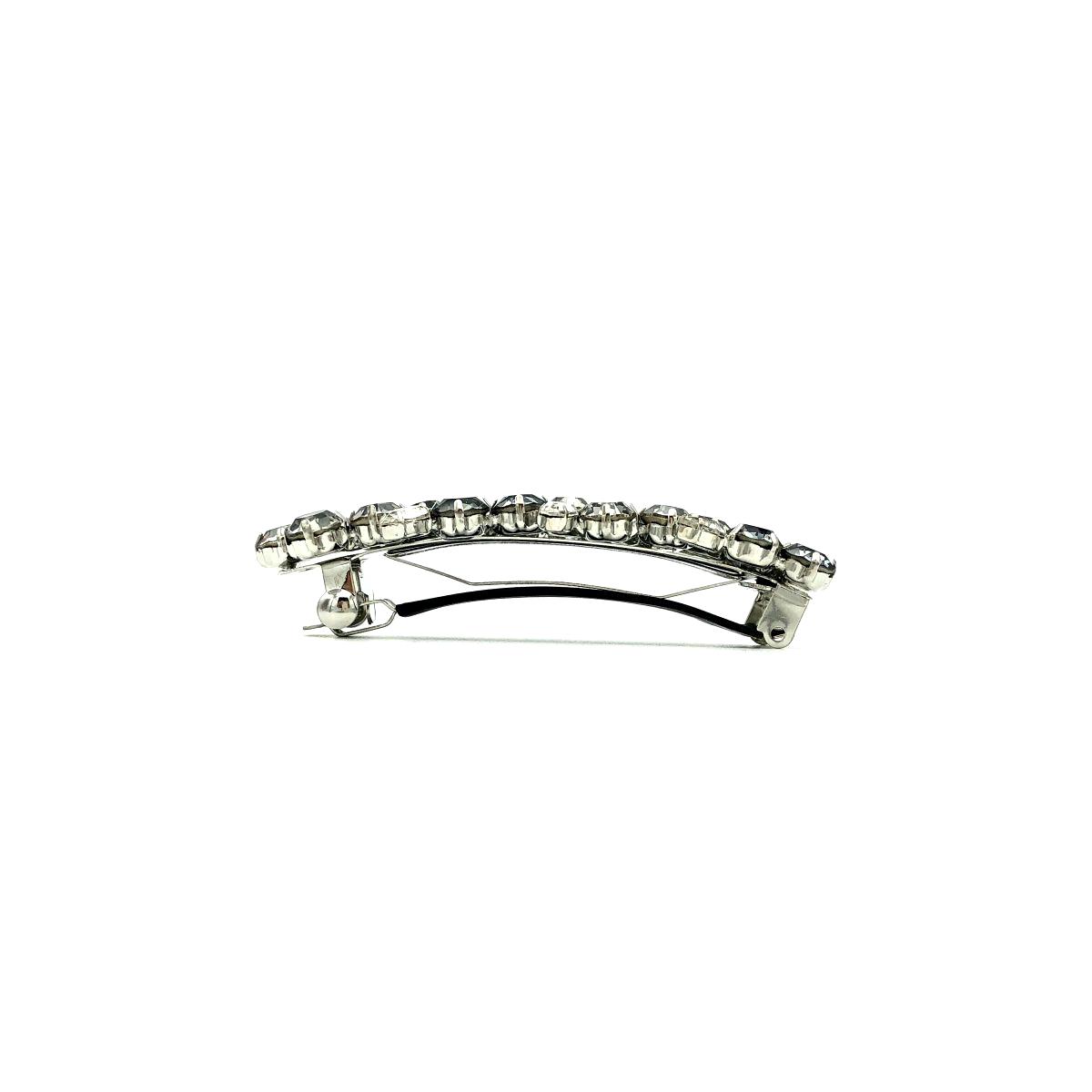 Haarspange 'Sarah' Strass grau/silber - klein - 8,8 cm