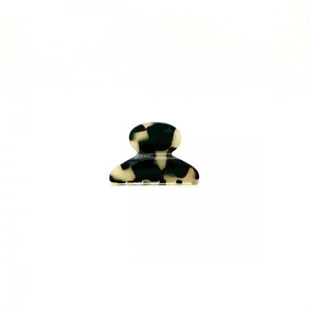 Haarklammer schwarz/beige - mini - 4 cm